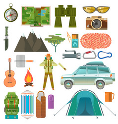 Set of the hiking vector