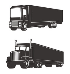 Set of cargo truck isolated on white background vector