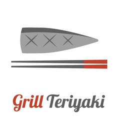 Mackerel and chopstick vector