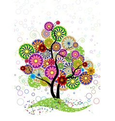 ornamental tree of circles flowers and curled on a vector image