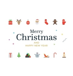 Modern christmas card with icons minimalistic vector