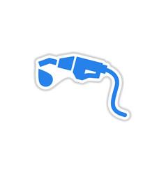 Paper sticker on white background gasoline gun vector