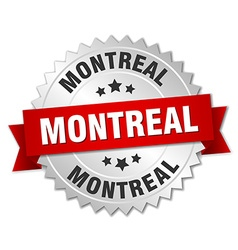Montreal round silver badge with red ribbon vector