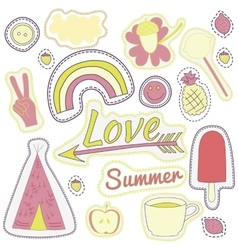 Happy embroidery pink summer patches collection vector