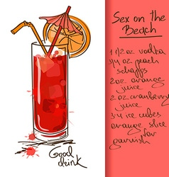 With sex on the beach cocktail vector