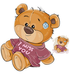 a brown teddy bear dressed vector image