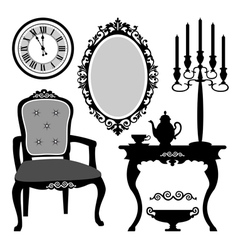 antique interior objects vector image vector image