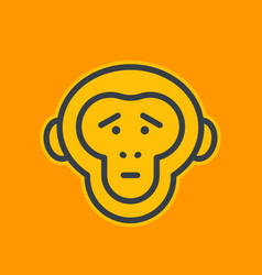 Ape sad chimp linear icon vector