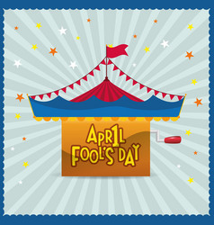 April fools day circus star background vector
