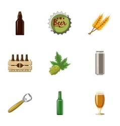Beer holiday icons set cartoon style vector