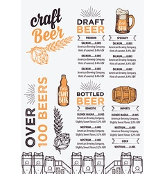 Beer restaurant cafe menu template design vector image vector image