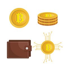 bitcoins trading flat icons vector image