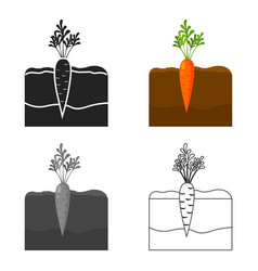 Carrot icon cartoon single plant icon from the vector