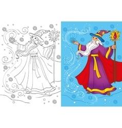 Coloring Book Of Magician Conjures A Snowstorm vector image vector image