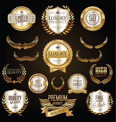 Golden sale shields laurel wreaths and badges vector