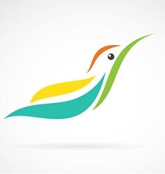 Image of an humming bird design on white backgroun vector