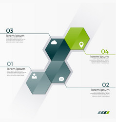 Infographic template with 4 hexagons vector