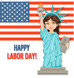 Labor day greeting card with usa flag and girl vector