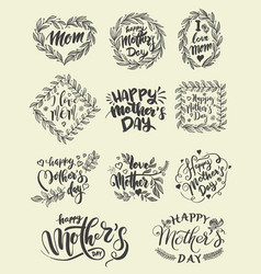 lettering set for happy mothers day card vector image