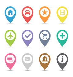 map pin icon set vector image vector image