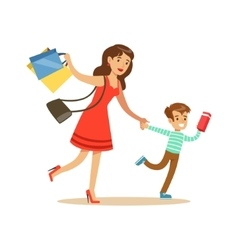 Mother and son running shopping in department vector