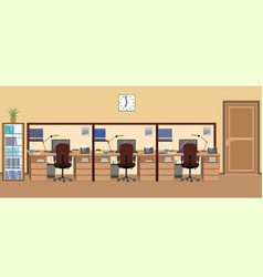 office room interior including three isolated vector image vector image