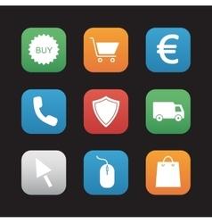 Online store flat design icons set vector