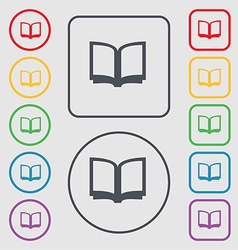 Open book icon sign symbol on the Round and square vector image
