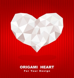 origami heart on red background vector image vector image