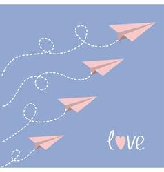Origami paper plane set dash line loop in the sky vector