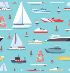 Sailboats and boats seamless pattern design vector