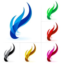 set of fire icon isolated on a white background vector image vector image