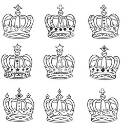 Set of hand drawn crowns doodle vector