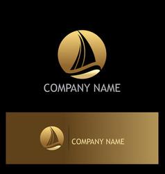 ship yacht gold logo vector image vector image