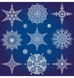 Snowflakes icon collectionWinter shapeStar and vector image vector image