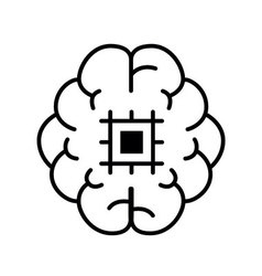 Symbol artifical intelligence quality outline vector