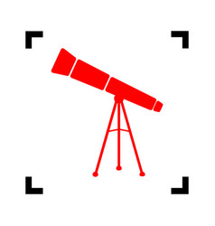 Telescope simple sign red icon inside vector