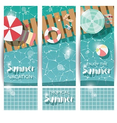 Three vertical banners with swimming pool vector image