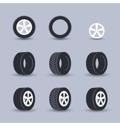 Tire icon set vector