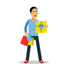 Young man standing with yellow gift box and vector