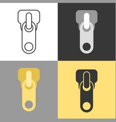 Zippers icon set in flat design vector