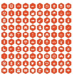 100 mill icons hexagon orange vector