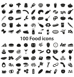100 various food and drink black icons set eps10 vector image
