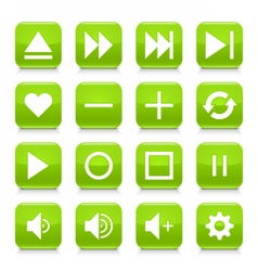 Green media sign rounded square icon web button vector