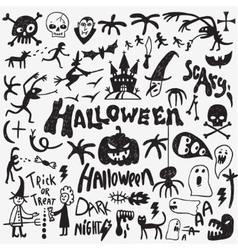 Halloween monsters doodles vector