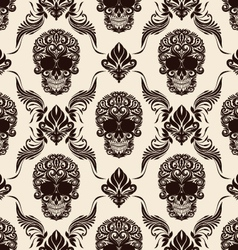 Brown skull pattern vector