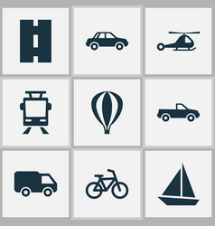 Transportation icons set collection of bicycle vector