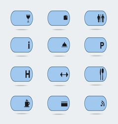 Blue hotel icons vector