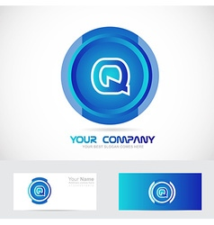 Letter q blue blue circle logo vector