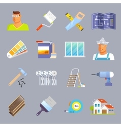 Renovation flat icons set vector